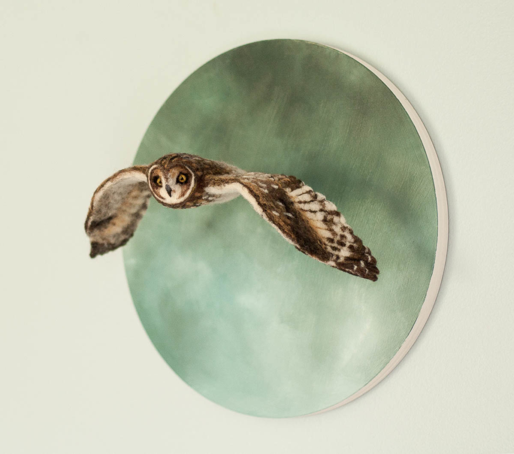 Erin Gardner | Short-eared Owl in Flight | Mixed Media $550
