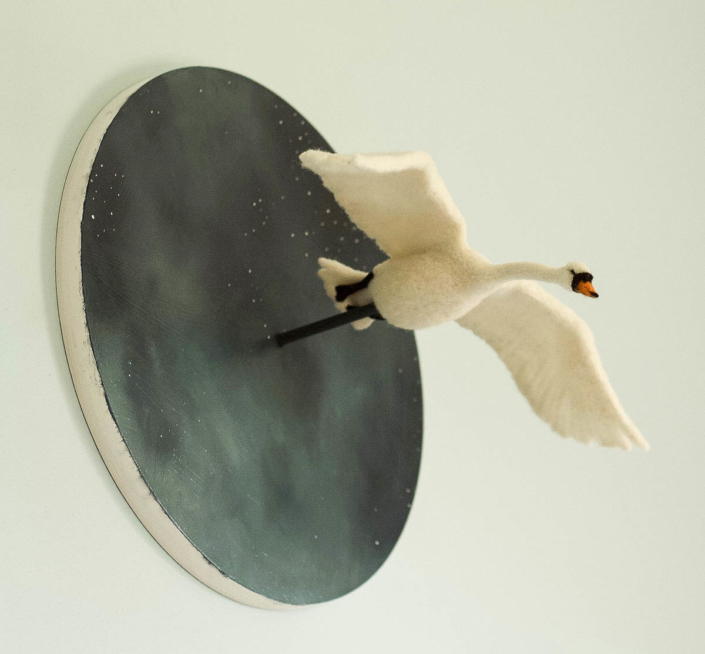 Erin Gardner | Mute Swan in Flight | Mixed Media $550