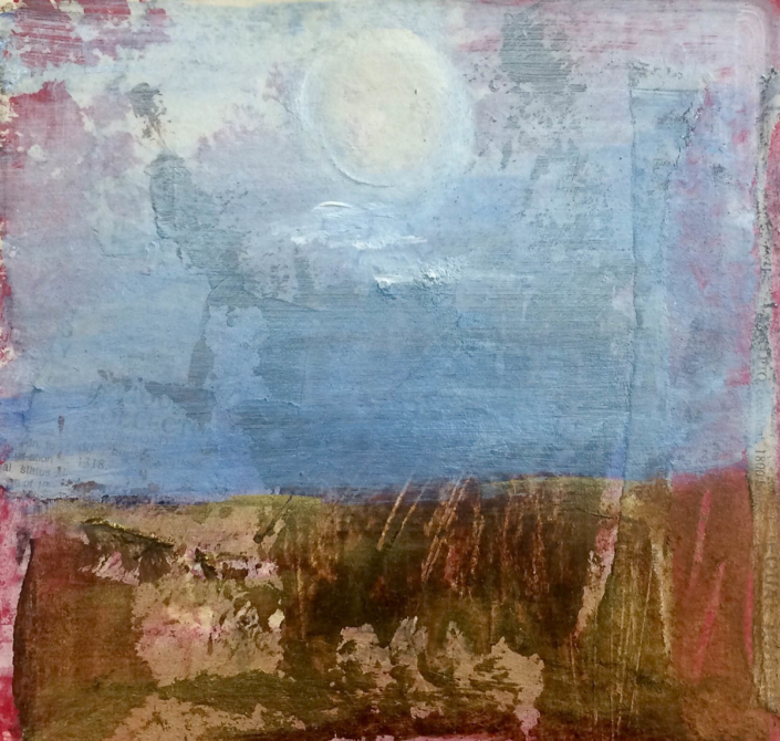 "Garlyn MaGinnis April Moon NFS 8""x8"" mixed media"