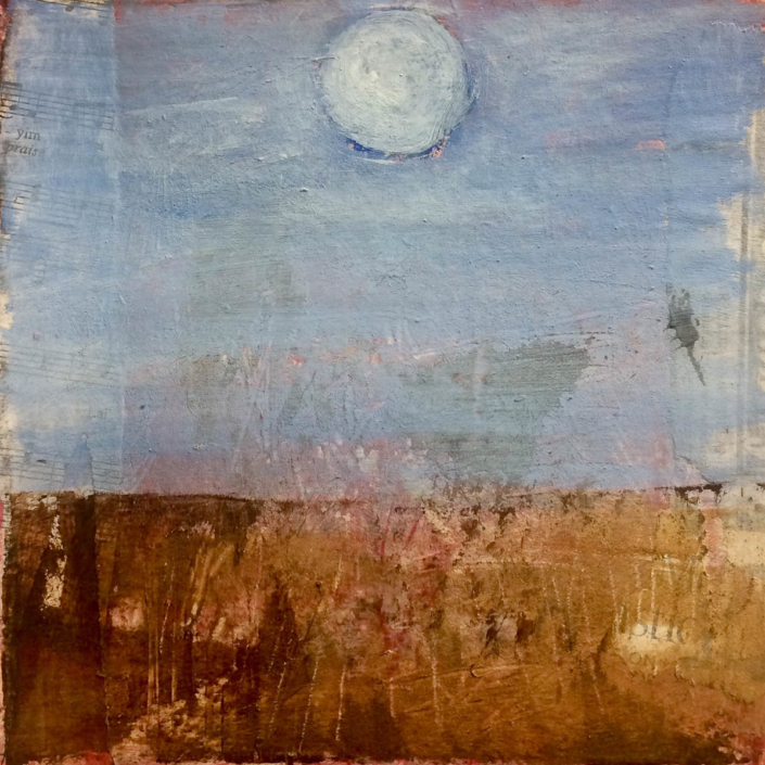 "Garlyn MaGinnis Super Moon NFS 8""x8"" mixed media"