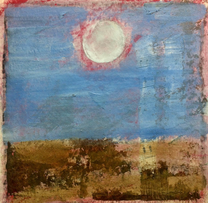 "Garlyn MaGinnis Pink Moon NFS 8""x8"" mixed media"
