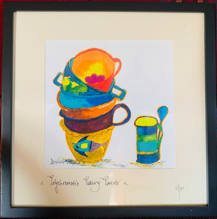 Deirdre Turner | Polychromatic Pottery Portals | Pen and watercolor print $75.