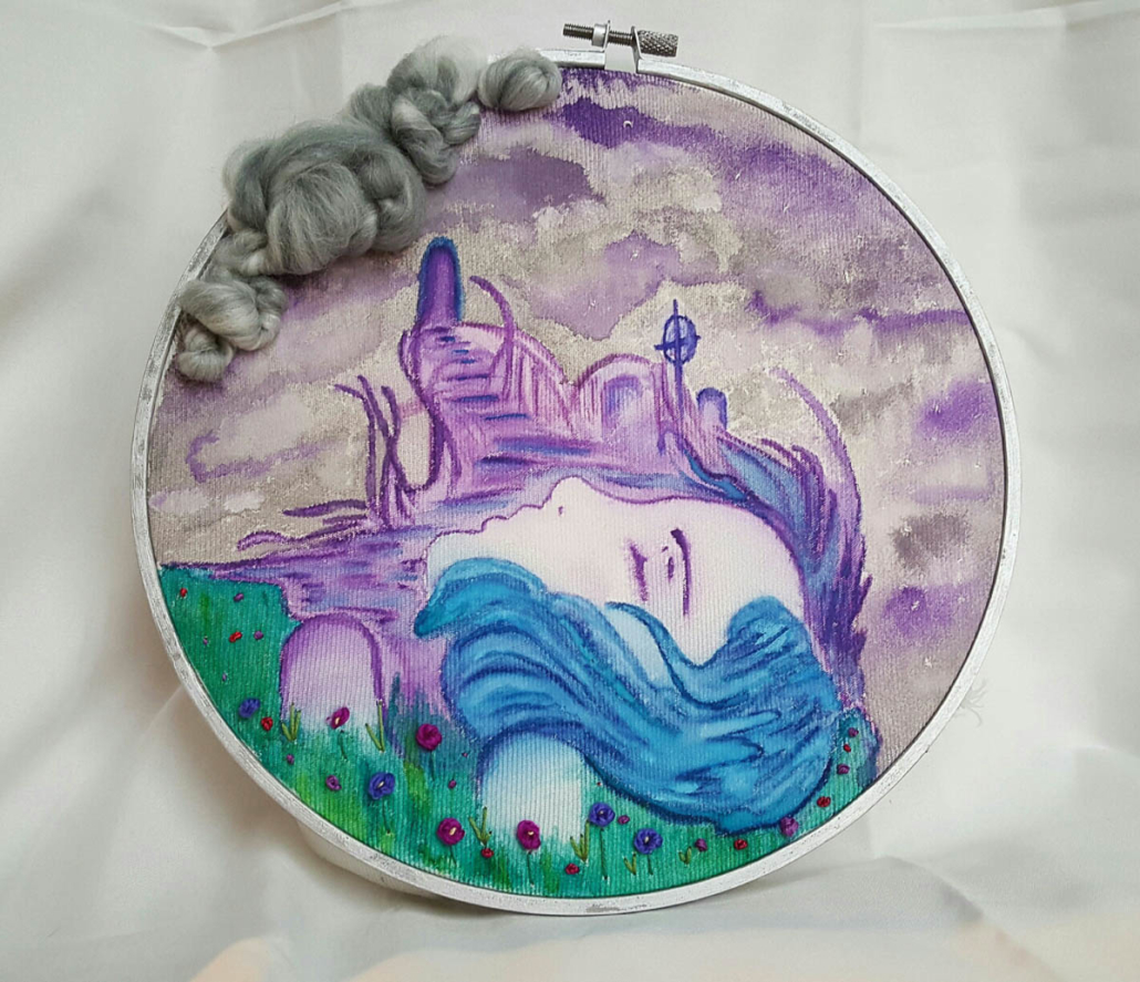 Kali Schafer | The Long Goodnight This piece is not for sale Hand painted fabric and embroidery