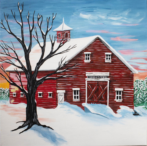 "Susan Handy | Barn in Winter | Acrylic on Canvas 20"" x 20"" $200."