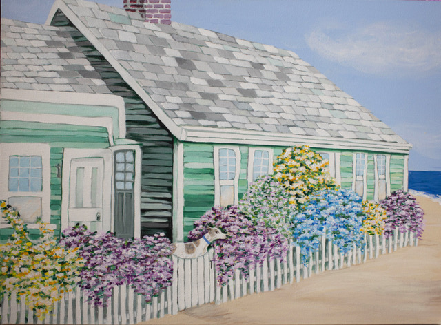 "Susan Handy | Baxter at Cape Cod | Acrylic on Canvas 18"" x 24"" $125."